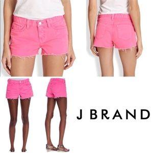 J Brand pink cut off distressed denim shorts